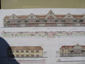 Artist's rendition of proposed Riverview Plaza building facades (click image to view larger version).