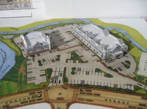 Model of Riverview Plaza, Tony Kwan's proposal for the old Saxonville Lumber site.