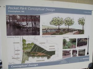 "Poster explaining some features of the proposed ""Pocket Park"" at the planned Riverview Plaza."