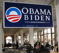 The Obama/Biden campaign's phonebanking center in Boston, the day before Election Day.